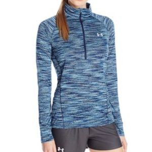 Under Armour Blue Space Dye 1/4 Zip Pullover-XS